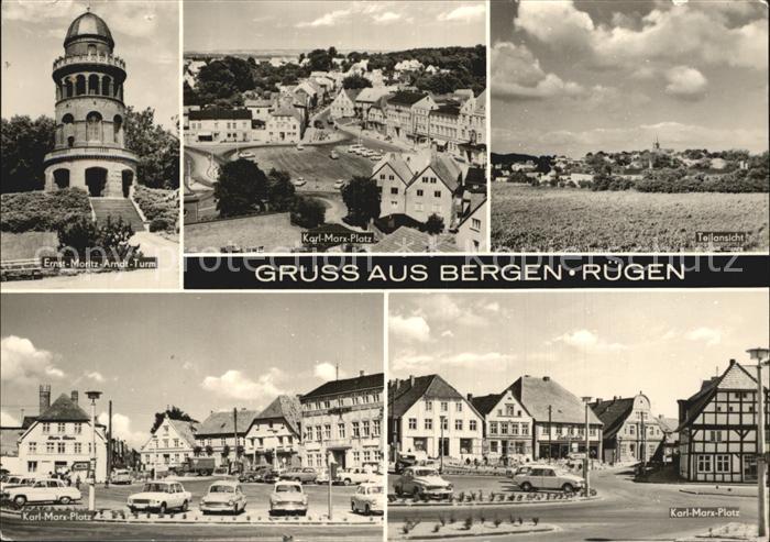 Bergen Ruegen Ernst Moritz Arndt Turm Karl Marx Platz Teilansicht  Kat. Bergen