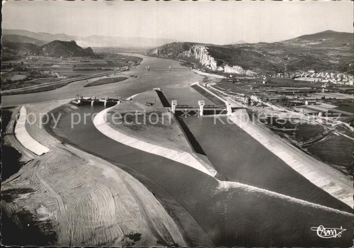 Donzere et Mondragon Canal et entree du Canon du Robinat vue aerienne Kat. Donzere