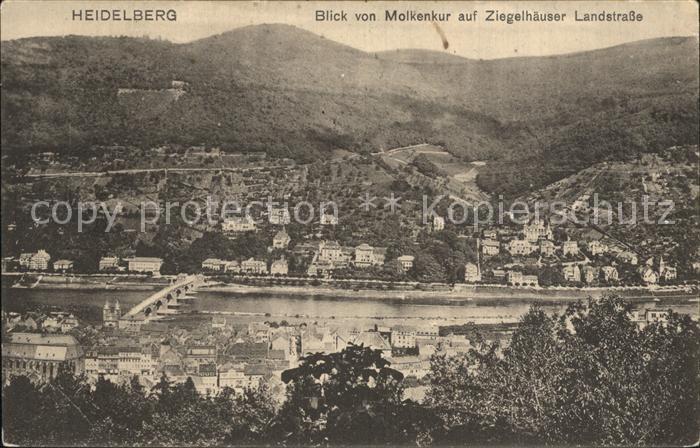 Heidelberg Neckar Blick von Molkenkur auf Ziegelhaeuser Landstrasse Kat. Heidelberg