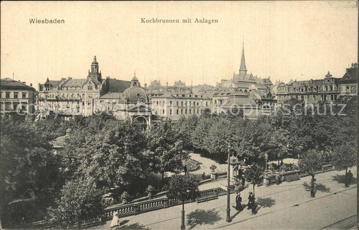 Wiesbaden Kochbrunnen mit Anlagen Kat. Wiesbaden