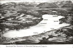 Starnberg See mit Karwendel Gebirge und Zugspitze Kat. Starnberg