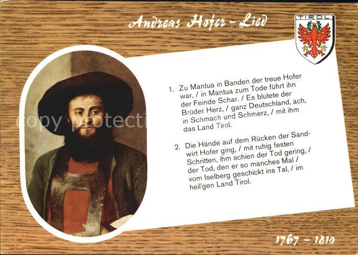 Hofer Andreas Lied  Kat. Suedtirol