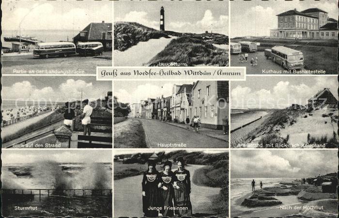 Wittduen Amrum Landungsbruecke Leuchtturm Kurhaus Bushaltestelle Strand Kniepsand Friesinnen Trachten Sturmflut
