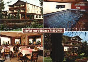 Rott Westerwald Hotel zur schoenen Aussicht Hallenbad Gastraum Garten Kat. Rott
