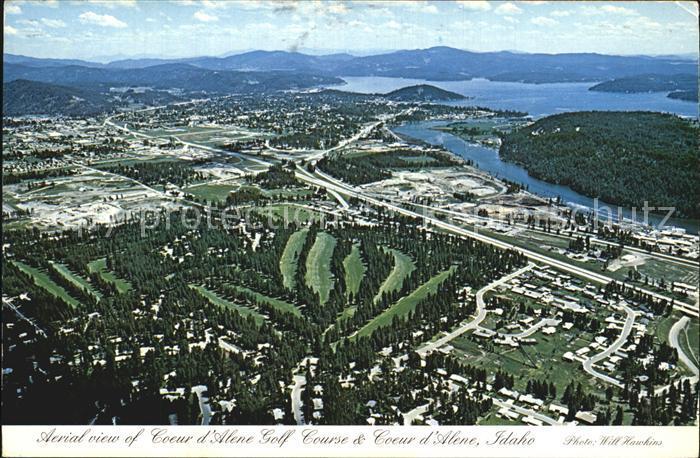 Coeur d Alene Golf Course ariel view City s northwest side Spokane River Lake Kat. Coeur d Alene