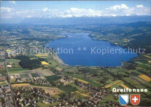 Greifensee Fliegeraufnahme mit Seebecken Schwerzenbach Greifensee Uster Kat. Greifensee
