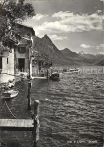 Gandria Lago di Lugano Haeuserpartie am Wasser Luganersee Alpen Kat. Gandria