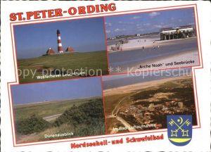 St Peter Ording Nordseeheilbad Schwefelbad Westerhever Leuchtturm Arche Noah Seebruecke Duenen Fliegeraufnahme Kat. Sankt Peter Ording
