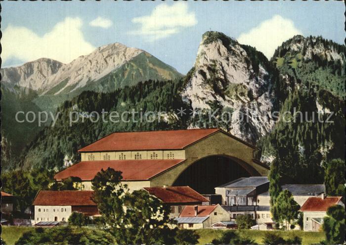Oberammergau Passionsspielhaus mit Notkarspitze und Kofel Kat. Oberammergau