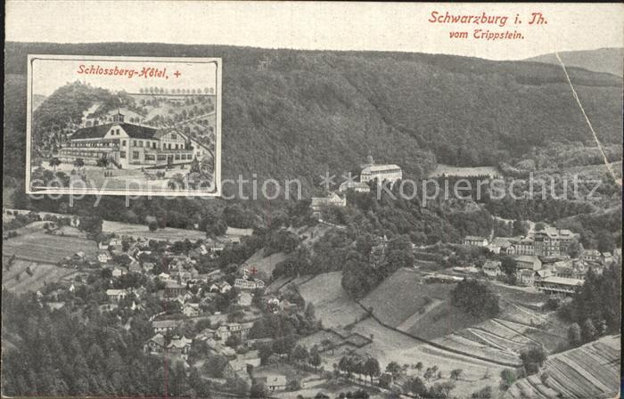 Schwarzburg Thueringer Wald Schlossberg Hotel Blick vom Trippstein Kat. Schwarzburg