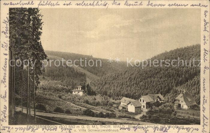 Finsterbergen Blick ins Leinatal Waldburg Villa Schwarzwaldhaus Kat. Finsterbergen Thueringer Wald