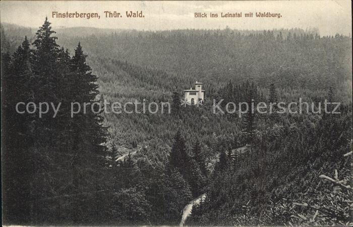 Finsterbergen Blick ins Leinatal mit Waldburg Kat. Finsterbergen Thueringer Wald