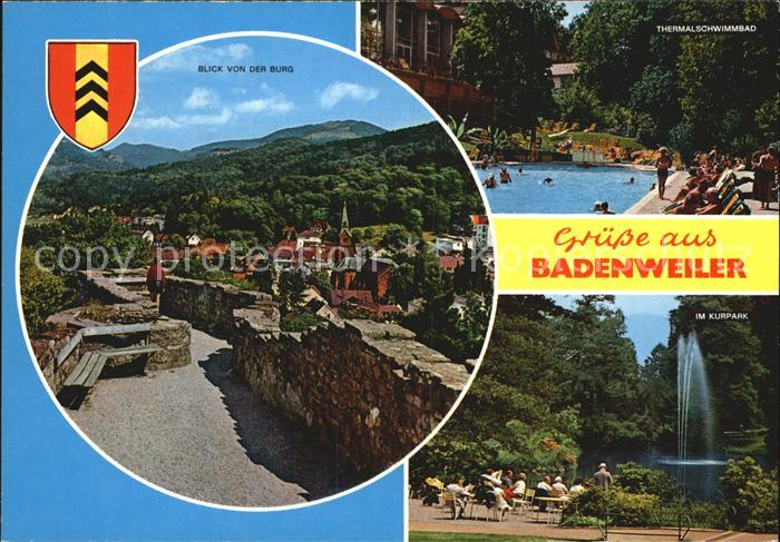 Badenweiler Burgblick Thermalschwimmbad Kurpark Fontaene Kat. Badenweiler