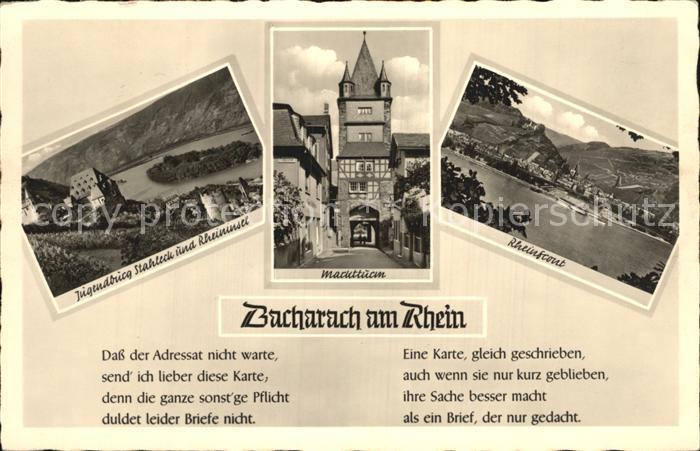 Bacharach Rhein Marktturm Jugendburg Stahleck  Kat. Bacharach