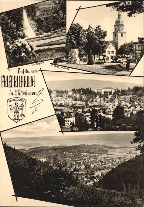 Friedrichroda Kurpark Blick zur Kirche Panorama Kat. Friedrichroda
