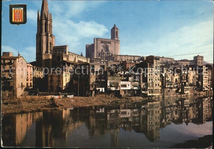 Gerona Vista parcial sobre el rio Onar Catedral Kat. Costa Brava Spanien