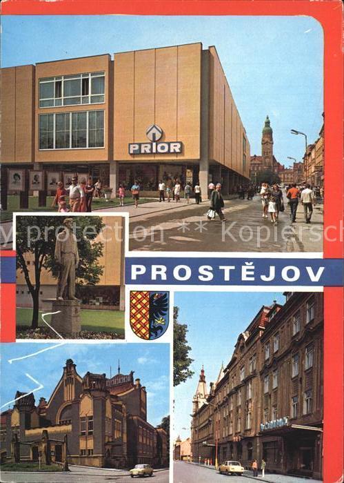 Prostejov Strassenpartien mit Denkmal Kat. Prossnitz