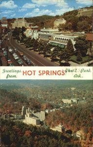 Hot Springs Arkansas Central Avenue Magnolia bordered Bath House Medical Arts Building Arlington Hotel Kat. Hot Springs
