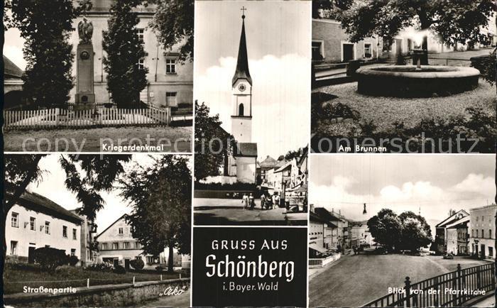 Schoenberg Bayerischer Wald Kriegerdenkmal Kirche Brunnen Strassenpartie