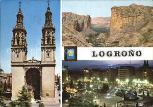Logrono Kirche Nachtansicht Berge Kat. Logrono
