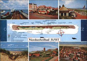 Juist Nordseebad Teilansichten Anleger Faehre Pferdebus Strand Promenade Duenen Fliegeraufnahme Kat. Juist