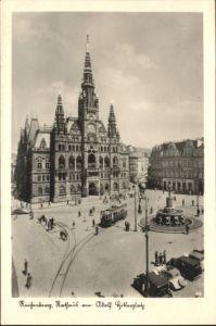 Reichenberg Boehmen Rathaus Strassenbahn *