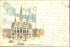 Reichenberg Rathaus Strassenbahn Litho x