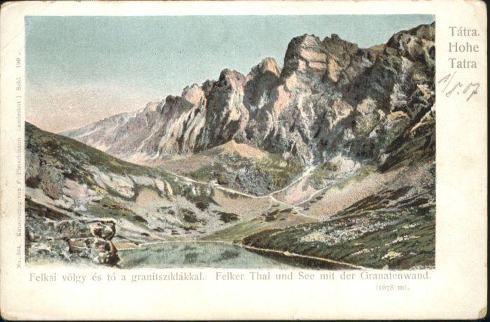 Tatra Hohe Tatra Felker Tal See Granatenwand *