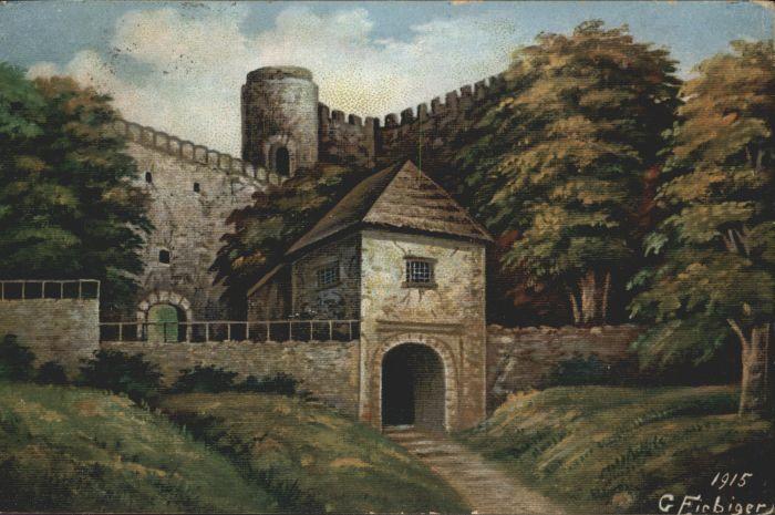 Burg Kynast Riesengebirge Kuenstler C. Fiebiger x