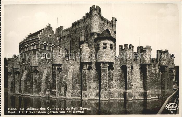 Gand Belgie Le Chateau des Comtes vu du Petit Gewad Kat.