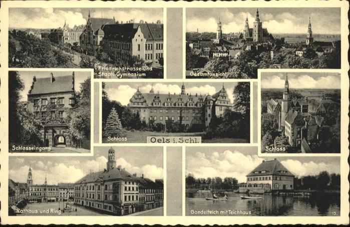Oels Oels Friedrichstrasse Schloss Gondelteich Teichhaus Rathaus  * / Polen /Polen