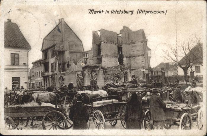 Ortelsburg Ortelsburg Markt Kutschen x / Polen /Polen