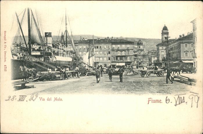 Fiume Via del Molo Dampfer Kat. Kroatien