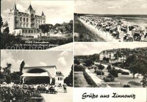 Zinnowitz Ostseebad Usedom FDGB Erholungsheim IG Wismut Strand Kurkonzert Pavillon Strandpromenade Kat. Zinnowitz