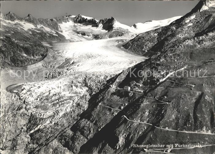 Rhonegletscher mit Furkastrasse Alpenpass Kat. Rhone
