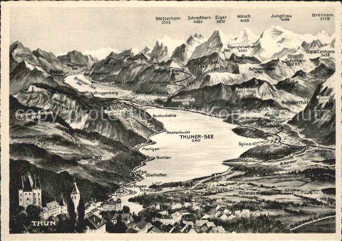 Thun Thuner See Jungfrau Moench Eiger  Kat. Thun