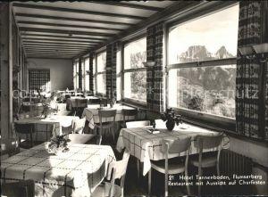 Flums Hotel Tannenboden Flumserberg Restaurant Aussicht auf Churfirsten Kat. Flums