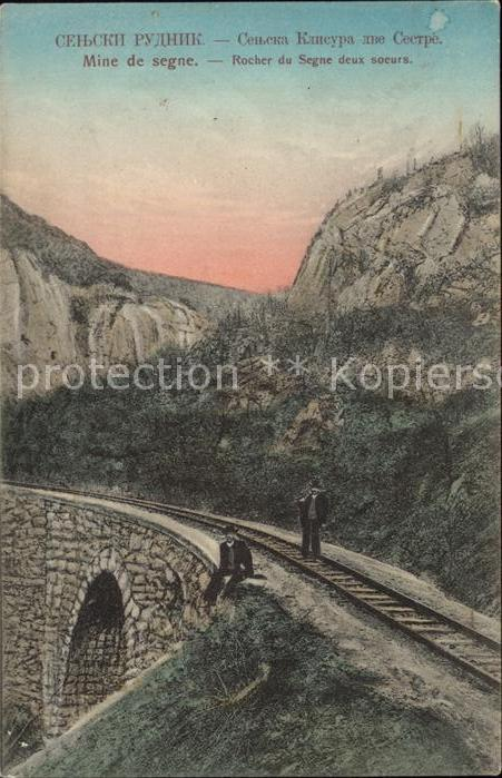 Serbien Serbija Mine de segne Rocher du Segne deux soeurs Eisenbahn / Serbien /
