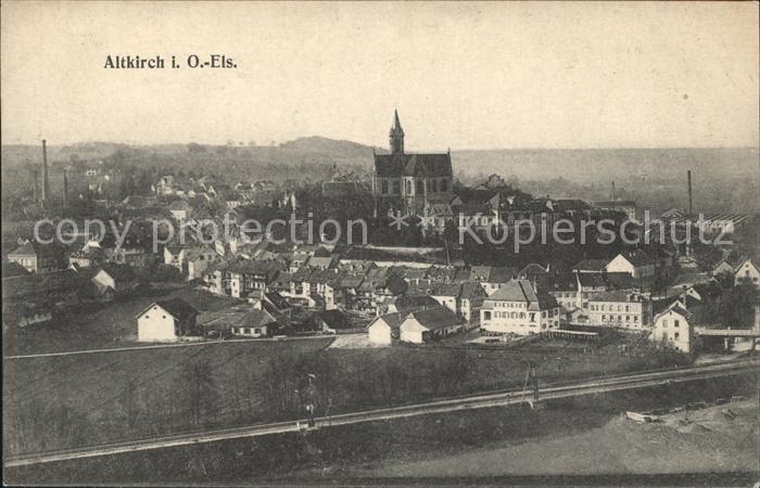Altkirch Haut Rhin Elsass Ortsansicht mit Kirche Eisenbahn Kat. Altkirch
