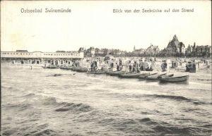 Swinemuende Ostseebad Westpommern Blick von der Seebruecke auf den Strand Kat. Swinoujscie