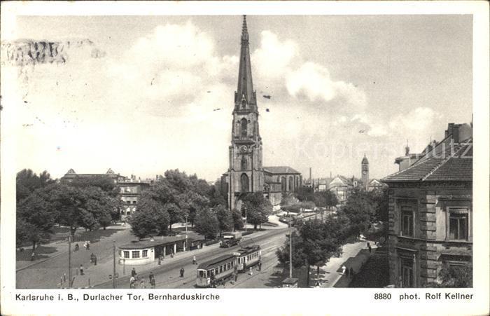Karlsruhe Durlacher Tor Bernharduskirche Kat. Karlsruhe