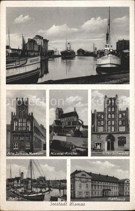 Wismar Mecklenburg Vorpommern Alte Schule Museum Alter Schwede Hafen Rathaus  Kat. Wismar