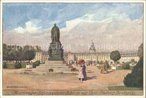 Karlsruhe Schlossplatz Schloss Carl Friedrich Denkmal  Kat. Karlsruhe