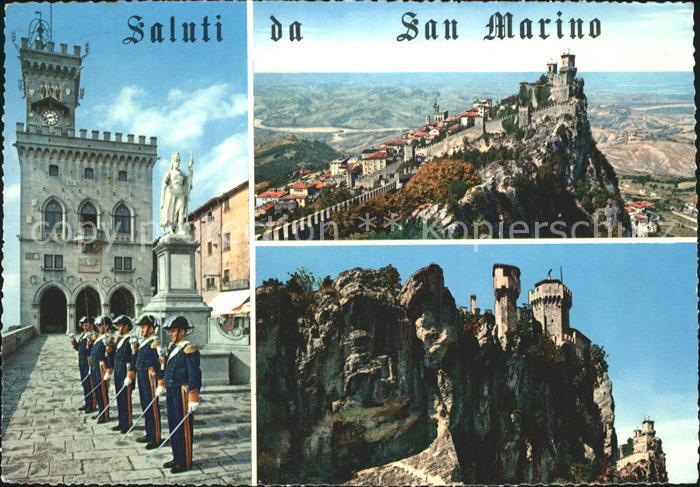 San Marino San Marino Burgansichten mit Gardesoldaten Kat. San Marino