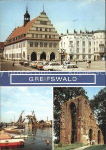 Greifswald Mecklenburg Vorpommern Rathaus Wiecker Klappbruecke Technisches Denkmal Eldena Klosterruine Kat. Greifswald