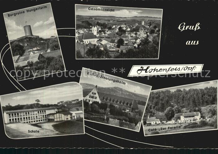 Hohenfels Oberpfalz Burgruine Panorama Schule BRK Erholungsheim Cafe Zur Forelle Kat. Hohenfels