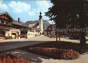 Inzell Dorfplatz mit Falkenstein Kat. Inzell