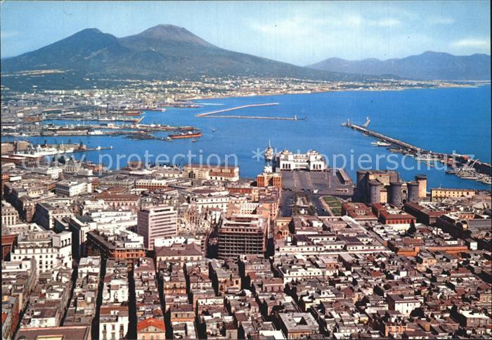Napoli Neapel Panorama und Hafen Kat. Napoli