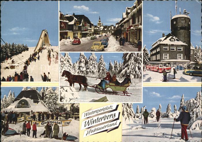 Winterberg Hochsauerland Astenturm Gaststaette Kahler Asten Pferdeschlitten Winterlandschaft Kat. Winterberg