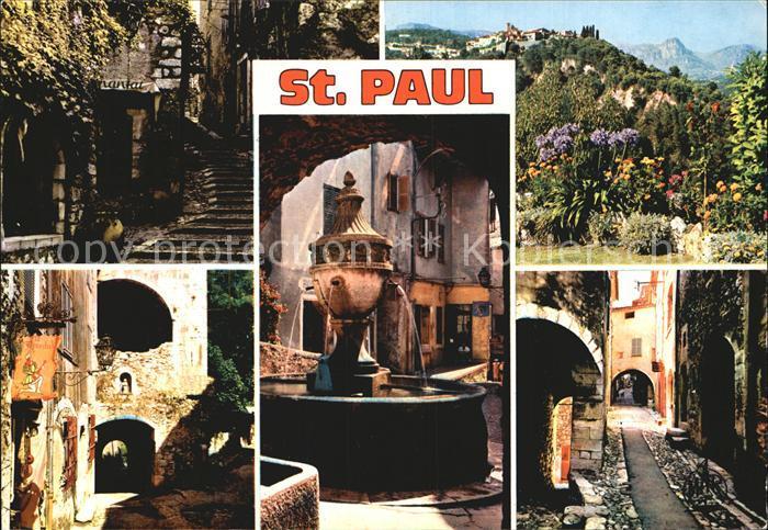 Saint Paul de Vence Montee de l`Eglise Portail Fontaine Kat. La Colle sur Loup